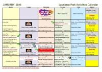 January Activities Calendar